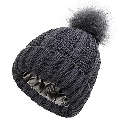BMTLFG Gorro de invierno para mujer, gorro de punto cálido con pompones de pelo de 7 colores, diseño adorable, cálido invierno, estilo sencillo, para otoño e invierno, gris oscuro, S-M