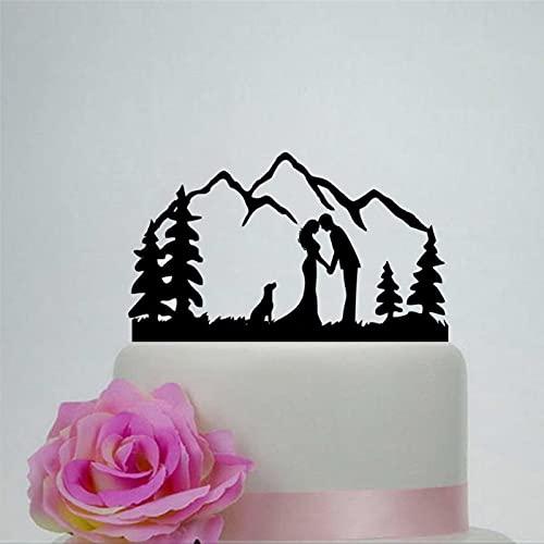 Decoración de pastel de acrílico para boda al aire libre, decoración de pastel de novia y novio para decoración personalizada de pastel de montaña