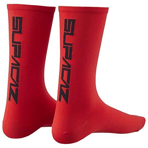 Supacaz Socks Red-L/XL Calcetines de Ciclismo, Rojo, Estandar para Hombre