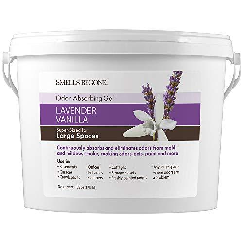 SMELLS BEGONE Odor Absorber Gel - 1 Gallon - Air Freshener & Odor Eliminator for Homes, Garages & Commercial Buildings - Industrial Size & Strength - Lavender Vanilla Scent