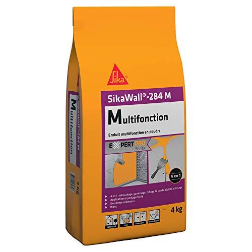 SikaWall-284 M, Blanc, Enduit multifonction en poude pour le collage de bande à joints, rebouchage, garnissage et lissage de murs et plafonds en intérieur, 4Kg