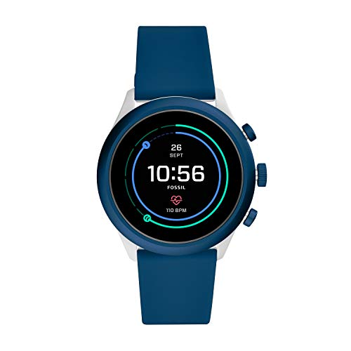 Fossil Men's Sport Heart Rate Metal and Silicone Touchscreen Smartwatch, Color: Grey, Navy Blue (Model: FTW4036)