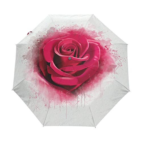 Red Rose Aquarell Splash Valentine Love Auto Open Schließen Faltbarer Regenschirm