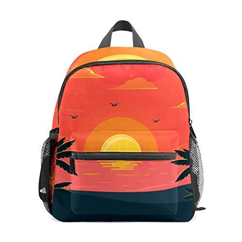 Backpack Student Bookbag for Kids Girls Boys,Fantastic Beach Sunset Casual Daypack School Travel Bag Organizer Gift
