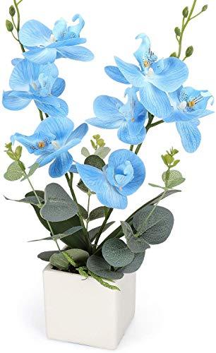 Yobansa Dekorative echte Berührung gefälschte Orchidee Bonsai künstliche Blumen mit Keramik Blumentöpfe Phalaenopsis Blumenarrangements für Home Decoration (Blue)