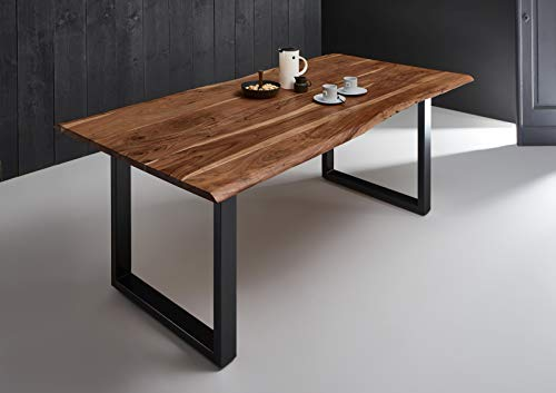 SAM Esszimmertisch 200x100 cm Quintana, echte Baumkante, nussbaumfarben, massiver Esstisch aus Akazienholz, Metallbeine schwarz, Baumkantentisch