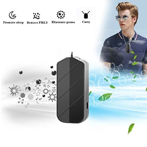 HUA JIE Luftreiniger Mit Ionisator,USB Portable Persönliche Tragbarer Halskette,perfekt Gegen Staub Und Haustier-allergene, Für Allergiker, Raucher, Asthma,Schwarz