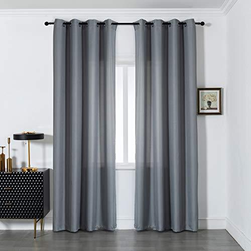 GIRASOLE Par de cortinas semiopacas de color liso para salón, dormitorio, balcón, ventana e interior, 2 paneles con ojales (gris, 140 x 290 cm)