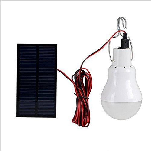 akaddy Kit portatile di batteria solare LED + lampadina + cavo USB, ideale per uso esterno come campeggio, pesca, giardino, ecc