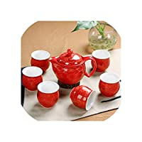 中国の伝統的な結婚式セラミックお茶セットダブル抗ホットティーカップダブルハピネスティーポット家庭飲酒用品、shown1として、