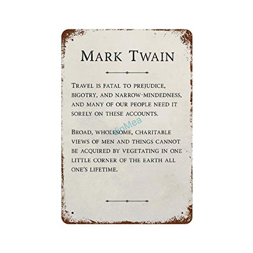 Metal Sign Mark Twain - Travel is Fatal 2 Poster Reproduction Vintage Look Aluminum Plaque Wall Signs Decor, 8 x 12 Inches