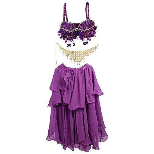 Dames buikdansbeha set vrouwen dansers pailletten geborduurd buikdans volwassenen prestaties kleding carnaval party dance kleding pak