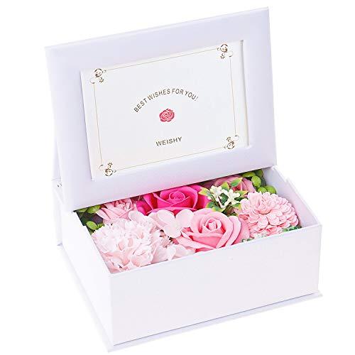 ソープフラワー 写真立て 枯れない花 フラワーアレンジメント (ピンク・白フレーム)