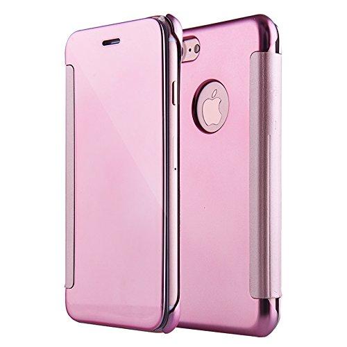 PLECUPE iPhone 7 Plus/8 Plus Espejo Cuero Funda, Ultra Fina Smart Clear Window View Electroplating Mirror Cubierta, Clásico Luxury Hard PC Plastic Anti Rasguños Protective, Oro Rosa