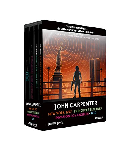John Carpenter-Coffret : New York 1997 + Prince des ténèbres + Invasion Los Angeles + Fog [4K Ultra HD Blu-Ray Bonus-Édition boîtier SteelBook]