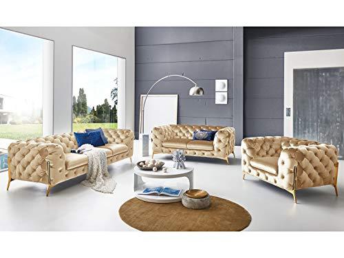 Designer Couchgarnitur 3-2-1-Sitzer Chesterfield Sofas Superior Samt-Stoff goldene Füße Knopfheftung Luxus Deluxe Möbel (Creme)