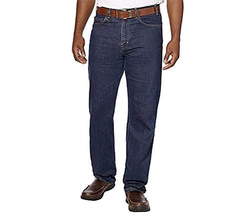 Kirkland Signature Men's 5-Pocket Jeans, Relaxed Fit, 100% Cotton, Double-Seam Stitching, Dark Blue (36x32)