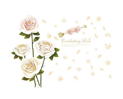 Wandaufkleber-Weißer Rosenwandaufkleber, Dekorativer Wandaufkleber Für Schlafzimmer, Esszimmer, Eingang, Wohnzimmer, Kleiderschrank, Arbeitszimmer, Tv-Hintergrund (60 * 90Cm)