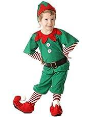 Odziezet Adulto Niño Niña Disfraz Conjunto Duende Verde Traje Falda Navidad Cosplay Halloween 5PC