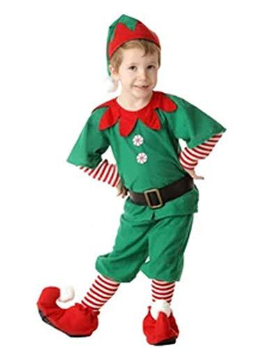 Odziezet Fille Costume de Noël Déguisement Vêtement de Fête Noël Party pour Femme Cosplay Tenue de Lutin de Noël 5PC 2-18 Ans