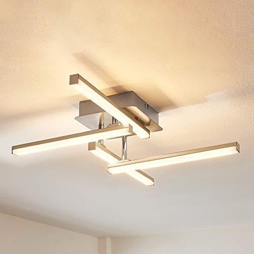 Lindby LED Deckenleuchte 'Laurenzia' dimmbar (Modern) in Alu aus Metall u.a. für Wohnzimmer & Esszimmer (4 flammig, A+, inkl. Leuchtmittel) - Lampe, LED-Deckenlampe, Deckenlampe, Wohnzimmerlampe