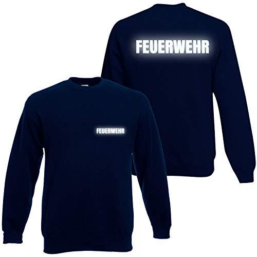 Feuerwehr Sweatshirt Herren Unisex - Reflektierender beidseitiger Aufdruck Brust & Rücken - viele Dunkelblau (Druck Reflektierend) M