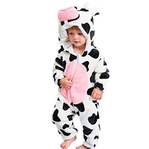 GWELL Kinder Baby Tier Kostüme Tieroutfit Cosplay Jumpsuit Schlafanzug Mädchen Jungen Winter Nachtwäsche Strampler Kuh 70
