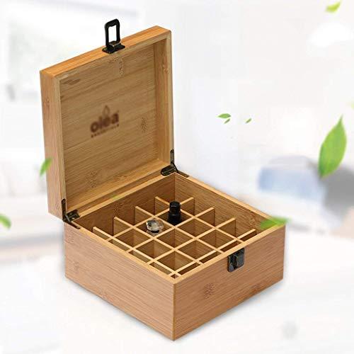 Ätherisches Öl Box 25 Bambus-Holzöl Lagerung Holzkiste Aufbewahrungsbox Ätherisches Öl Display Box 5ml10ml15ml (Farbe: braun, Größe: 18 * 18 * 10 cm) 1yess (Color : Brown, Size : 18 * 18 * 10CM)