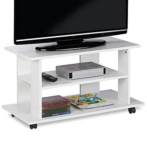 Bakaji Mobile TV in Legno MDF con 2 Ripiani Porta Console Videogiochi DVD e 4 Ruote Mobiletto Carrello Porta Televisore Design Moderno Dimensione 80 x 40 x 45 cm (Bianco)