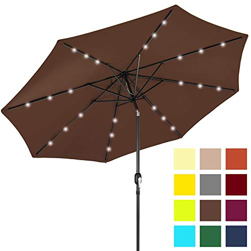 Best Choice Products 10-Foot Solar Powered Aluminum Polyester LED Lighted Patio Umbrella w/Tilt Adjustment and Fade-Resistant Fabric, Brown