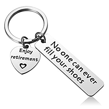 Retirement Keychain Gifts for Coworker - No One Can Ever Fill Your Shoes Mens Retirement Gifts
