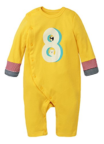 Y-BOA Bodysuit Grenouillère Barboteuse Manche Longue Pyjama Vêtement Enfant Bébé Jaune Size1