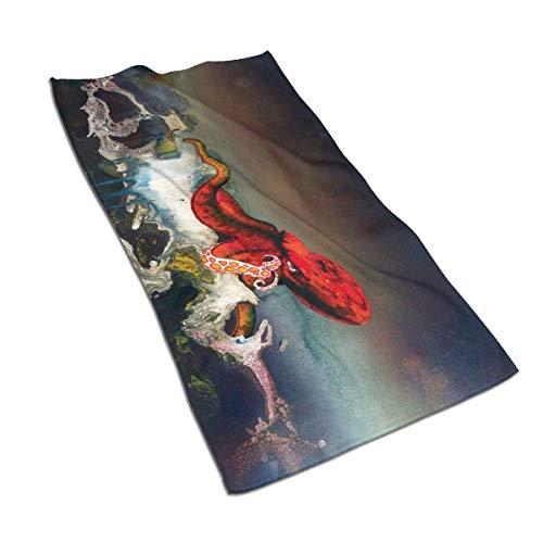 AOOEDM Toallas de Mano Pulpo Acuarela Toalla de Cara Decoración Regalos Toallitas portátiles para baño Hotel Gimnasio Yoga o SPA 27.5X15.7 Pulgadas