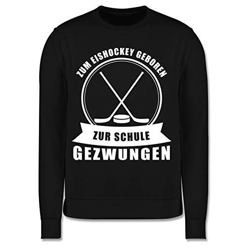 Sport Kind - Zum Eishockey geboren. Zur Schule gezwungen - 152 (12/13 Jahre) - Schwarz - Pullover Eishockey - JH030K - Kinder Pullover