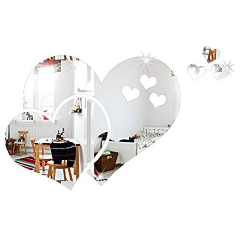LIOOBO Abnehmbare 3D Herz Spiegel Wandaufkleber Acryl Kunst Aufkleber für DIY Home Decoration