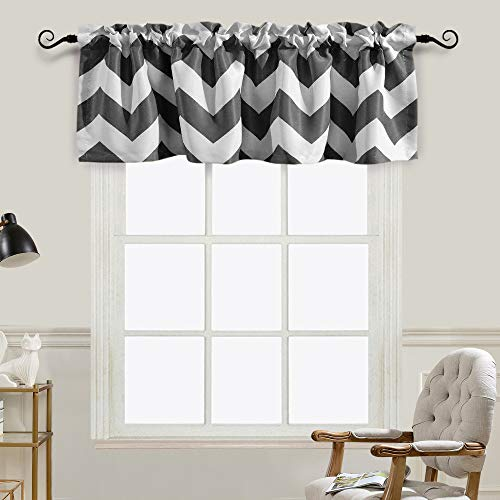Melodieux Chevron Room Darkening Rod Pocket Window Curtain Valance for Kitchen, 52 by 18 Inch, Grey (1 Panel)