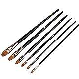6PCS / Set Cepillo de crin de alto grado, Pluma de pintura acrílica profesional de alta calidad, Papelería Artista Cepillos de pintura al óleo
