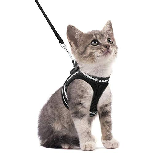 "rabbitgoo Cat Harness and Leash Set for Walking Escape Proof, Adjustable Soft Kittens Vest with Reflective Strip for Cats, Step-in Comfortable Outdoor Vest, Black, S (Chest:9.0""-12.0"")"