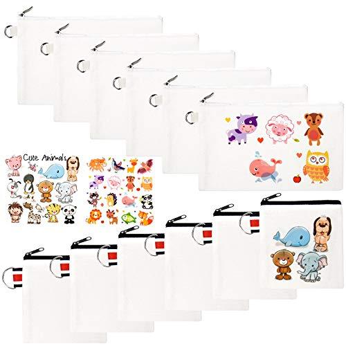 INSOUR 12 Stück Leinwand Schminktasche Federmäppchen Stoff Kleine Geldbörse mit 2 Blatt Wärmeübertragung Aufkleber für Taschen DIY