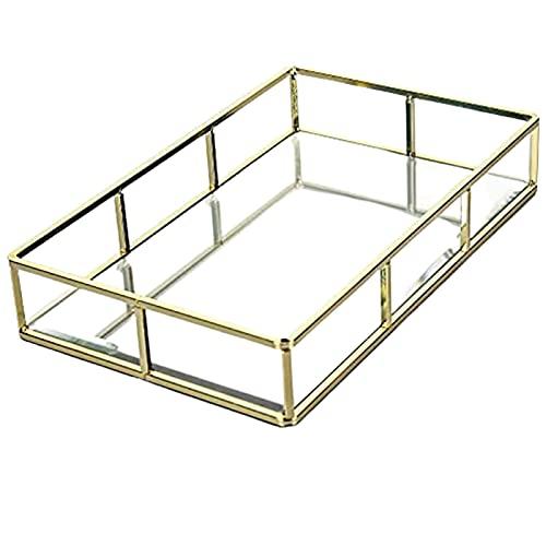 GQCTXHZ Caja Organizadora de Exhibición de Joyería Rectangular, Caja de Tocador de Vidrio, Bandeja Decorativa para el Hogar, Decorativa de Metal Dorado Vintage, Soporte de Exhibición Transparente.