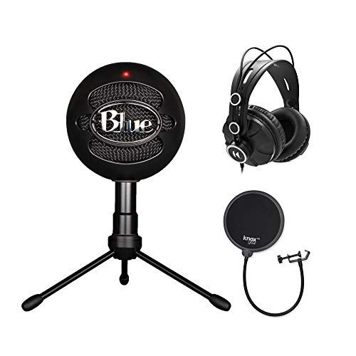 Blue Microphones Snowball iCE Condenser Microphone (Black) with Studio Headphones and Knox Pop Filter Bundle