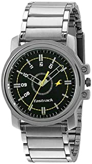 Fastrack Economy Men's Black Dial Stainless Steel Band Watch - T3039SM02