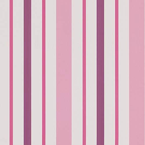 Gestreifte Tapete Pink Violett Weiß 8983-19 | Papiertapete günstig Streifen Pink 898319 | Tapete für Mädchen Kinderzimmer, Jugendzimmer | Günstig!
