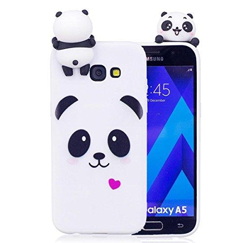 Samsung A5 2017 Hülle, Galaxy A5 2017 Schutzhülle, 3D Panda - Weiß Muster Design Handy Hülle für Samsung Galaxy A5 2017, Ultra Dünn TPU Weich Silikon Handycover Schale Schutzhülle Ultra
