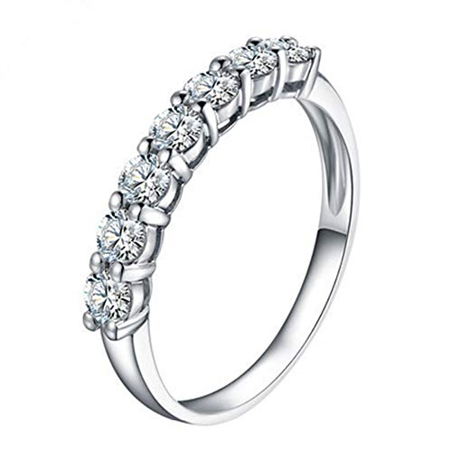 BQZB Anillo Seven Stone Vintage Band Ring Diamantes sintéticos Compromiso Mujer Band Ring 925 Sterling Silver White Gold Color Ring Gift