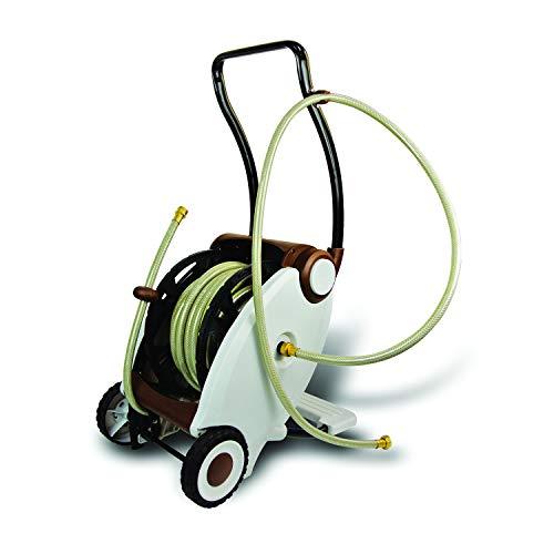 Garden Power (New Version) Foot Crank Powered 2-Wheel Garden Hose Reel Cart with Reinforced Brass Fitting, 100-foot Hose Included.