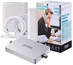 IIWEE Cell Phone Signal Booster Sets for All Carriers Voice Text and 4G LTE Up to 3500 Sq Ft for Home and Office (Strong Link Omni/Panel)