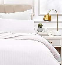 Amazon Basics - Juego de ropa de cama con funda nórdica de microfibra y 1 funda de almohada - 135 x 200 cm, blanco brillante