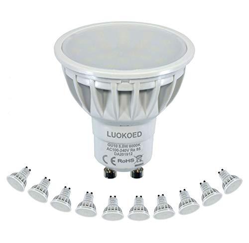 Bombilla Gu10 LED Foco 500-550lm Equivalente a 50W Luz Blanca Fría 6000K LUOKOED®