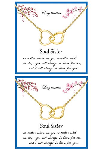 2Pcs Soul Sister Necklace for Women 2 Interlocking Hearts Pendant Adjustable Chain Necklace Double Heart Best Friend Friendship Necklaces for Soul Sisters Birthday Jewelry Gifts